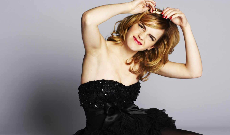 emma, watson, little, платье, black,