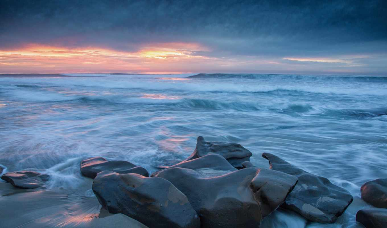 камни, waves, небо, побережье, тучи, море, картинка, colibri, oboi,