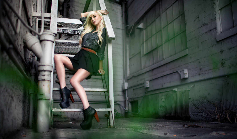 fashion, модель, лестница, блондинка, девушка, переулке,