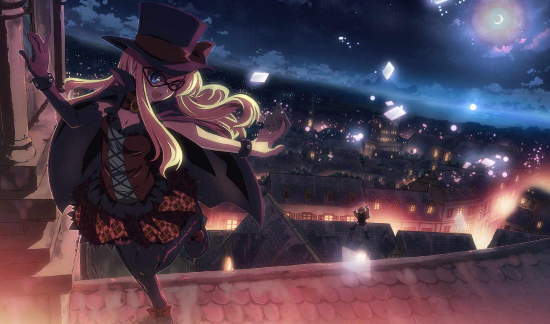 луна, крыша, очки, карты, anime, смотрите, закладки, другие,