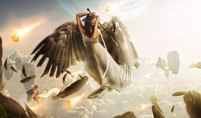 девушка, крылья, ангелы, девушки, меч, planet, небо, облака, маска, перья,