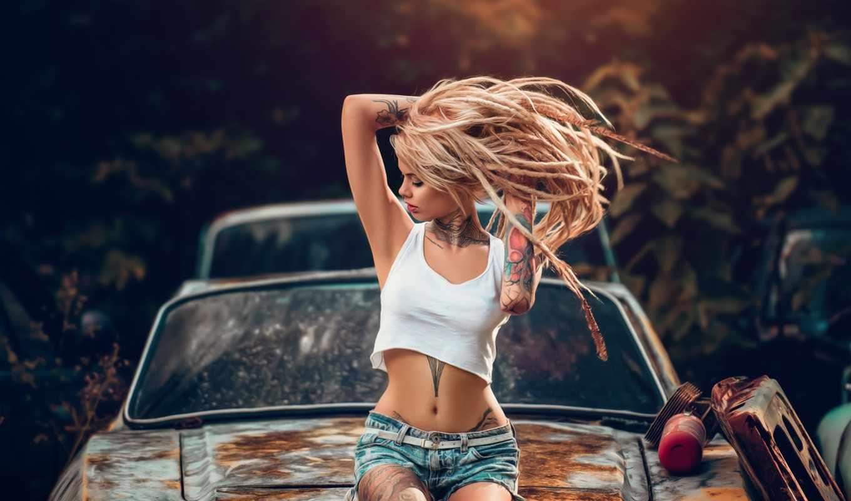 девушка, sit, капюшон, машина, татуировка, тело, старый, модель, авто, платье, black
