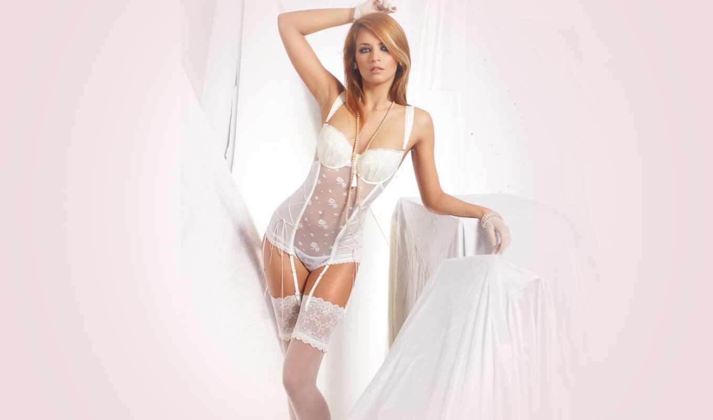 эротический, девушка, белье, corset, white, red