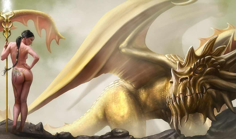 девушка, обои, дракон, магия, скалы, фото, фэнтези, арт, красивые, татуировка, драконы, посох, трещины, девушки, рисунки, меч, фантастика, лес, огонь, скачать