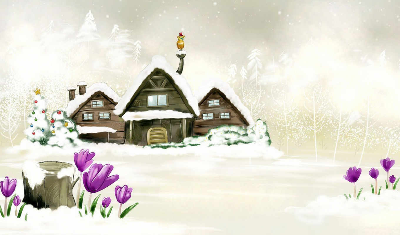 новый, год, зима, белый,