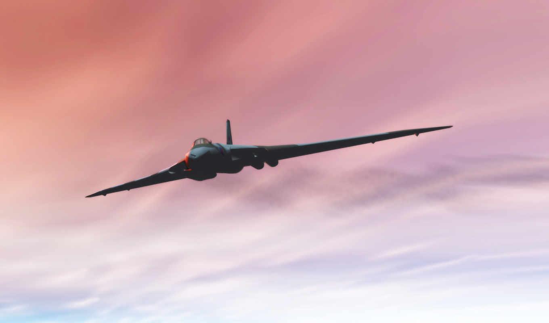 просмотреть, небо, самолёт, flight, bomber, vulcan, sunset, strategic, avro,