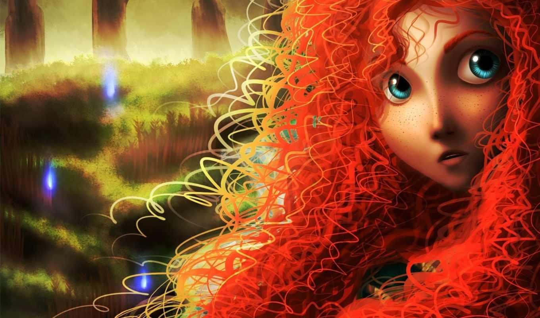девушка, рыжая, art, игры, brave, merida, рисунок,