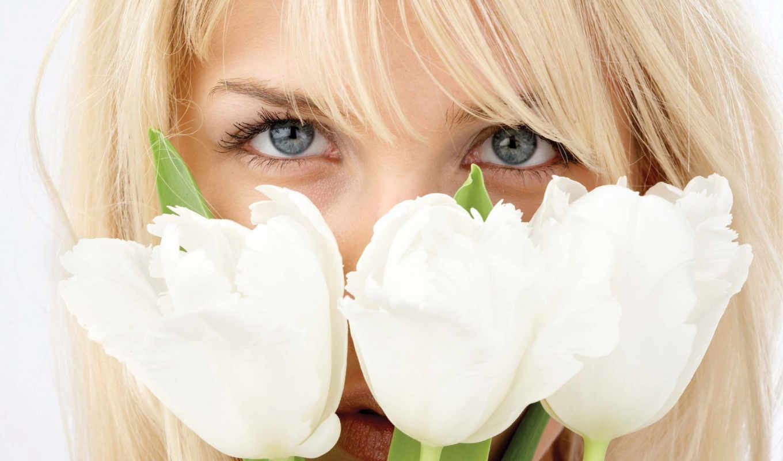тюльпаны, белые, blonde, девушка,