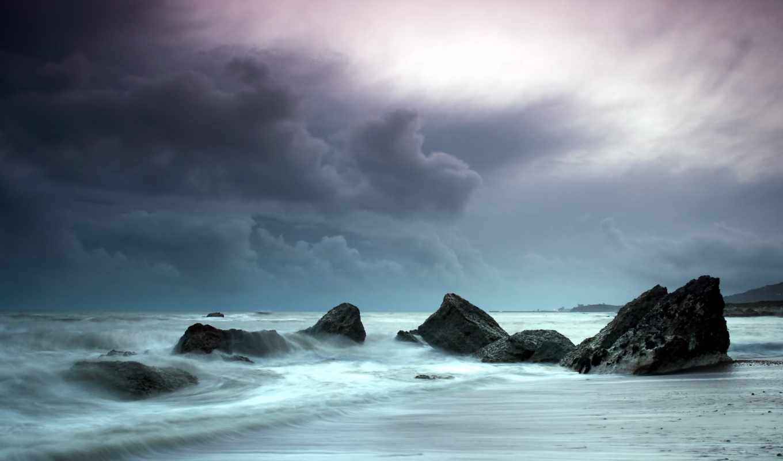 пляж, ocean, stormy, views, природа, clouds,