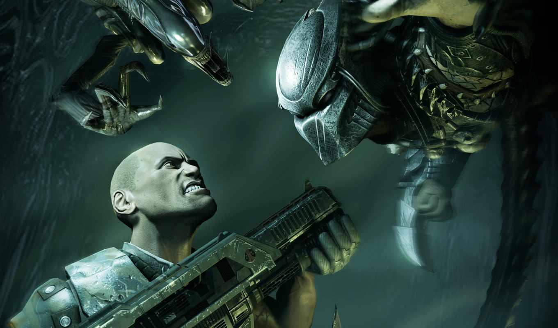 predator, aliens, games, alien, desktop, оружие, автомат, чужой, человек, игры, video, изображение, click, from, картинка, home,