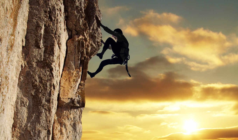 climber, небо, солнце, mountain, rock, sport, clouds,
