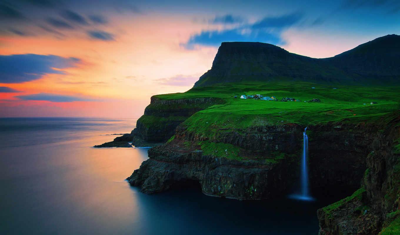 national, море, солнце, закат, горы, скалы,