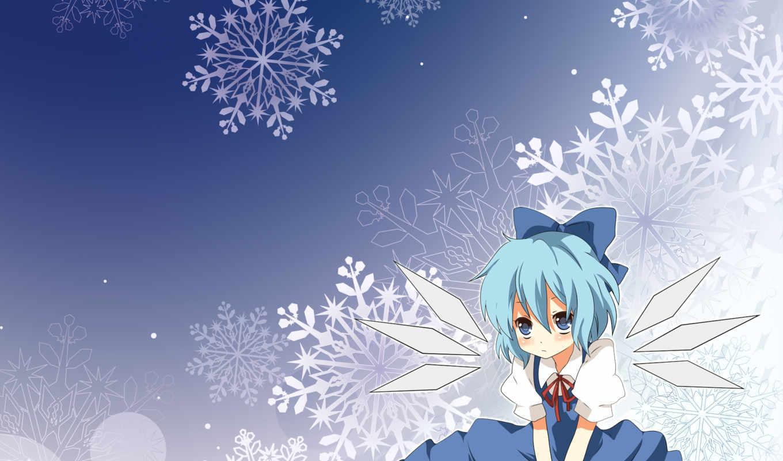 blue, dress, cirno, hair, winter, bow, pastebin, blush, snow, favorites, декабря, touhou, photoshop,