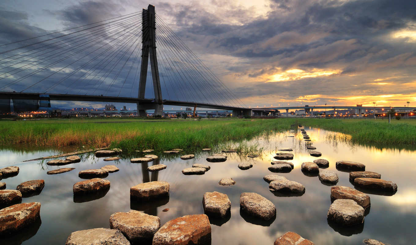 bridge, landscapes, bridges, stones, water, city, grass, cityscapes, sunset, nature,