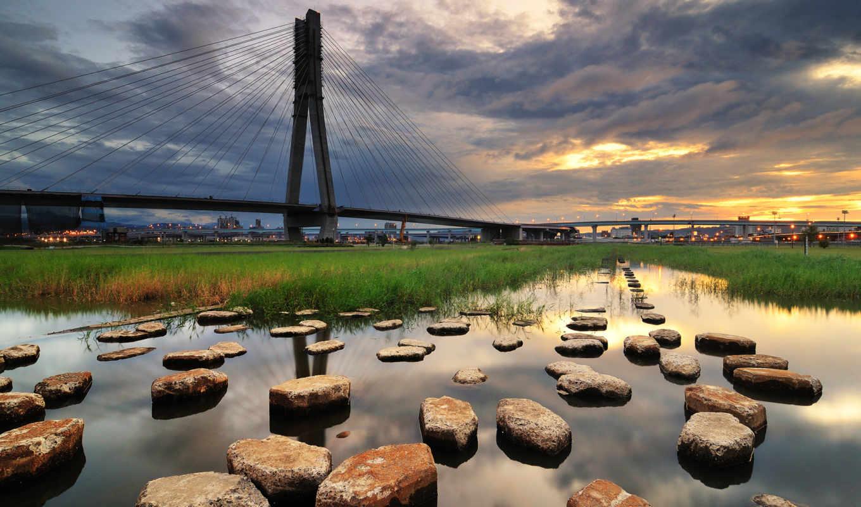bridge, landscapes, bridges, stones, water, city, grass, cityscapes, sunset, nature,