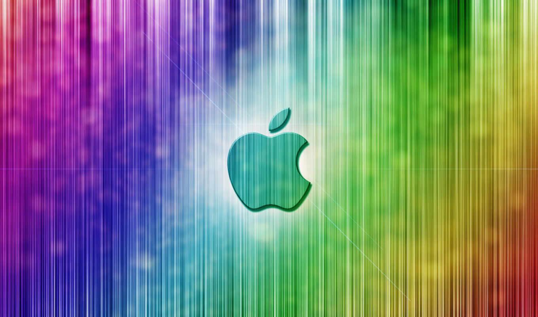 apple, лого, полосы, радужный