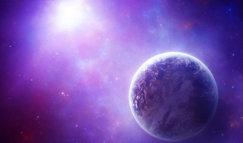 cosmos, purple, красивые, planet, звезды,