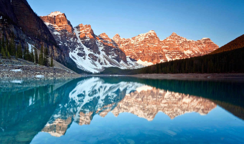 озеро, moraine, reflections, resolutions, national, park,