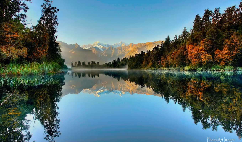 новая, zealand, озеро, остров, south, река, matheson, fone, голубого, imgator,