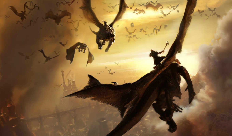 драконы, steps, два, fantasy, ад, всадник, дракон, game,
