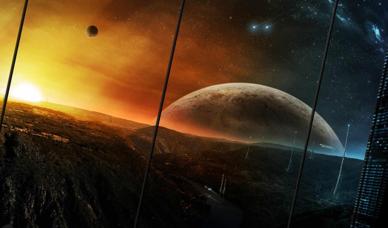 город, корабли, planets, горы, небо, звезды, башни, будущее, планеты, futuristic, landscapes, свет, фэнтези, fantasy, technics,