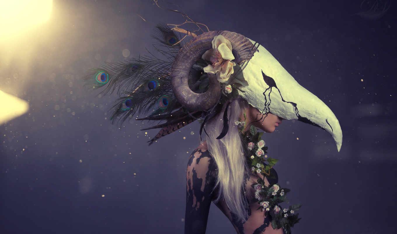 маска, девушка, перья, череп, art, рога, цветы, павлина,
