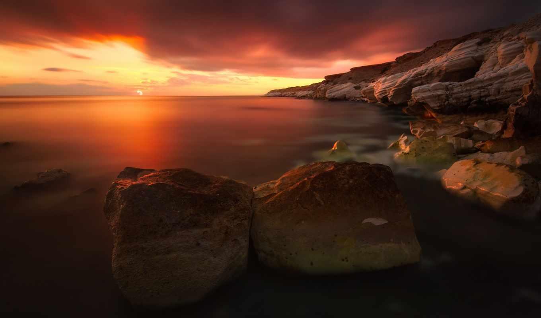 закат, red, rocks, море, water, небо, desktop,