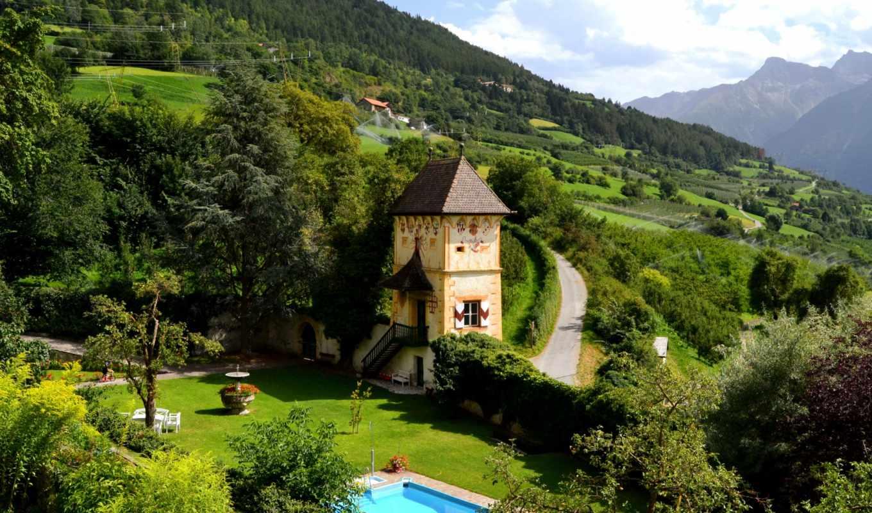 house, бассейн, горы, взгляд, landscape, вид, первую,