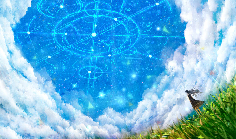 небо, grass, облака, clouds, anime, арт, image, original, звезды, природа,