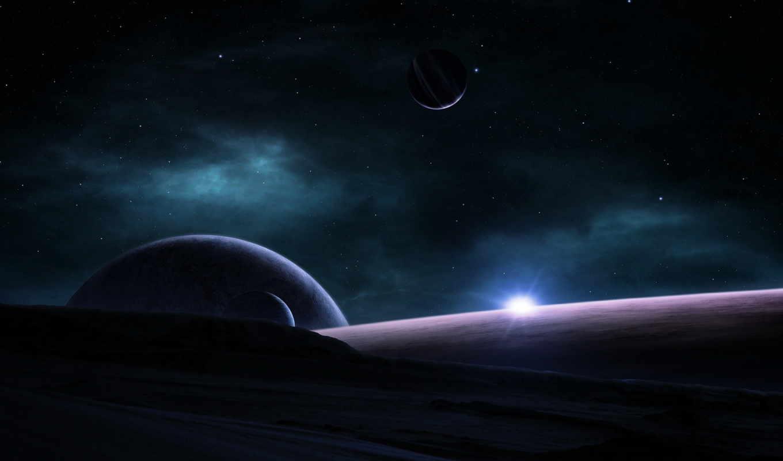 космос, туманность, звезды, восход, планеты, смотрите,