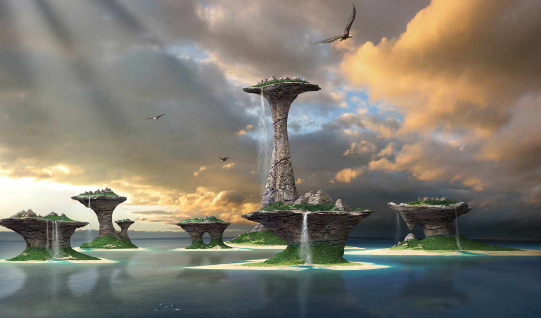 острова, фэнтези, water, небо, море,