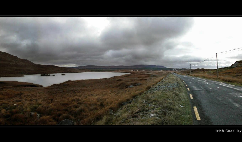 ирландский, дорога, фон, scenery, природа, high, лет,