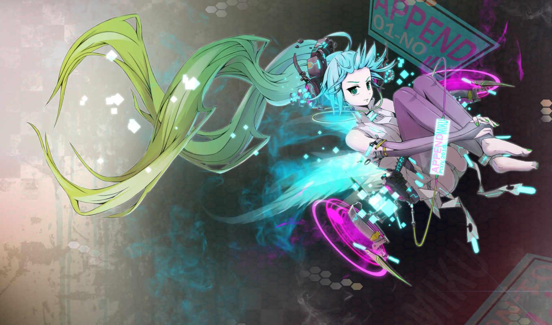 anime, miku, вокалоид, волосы, синие,