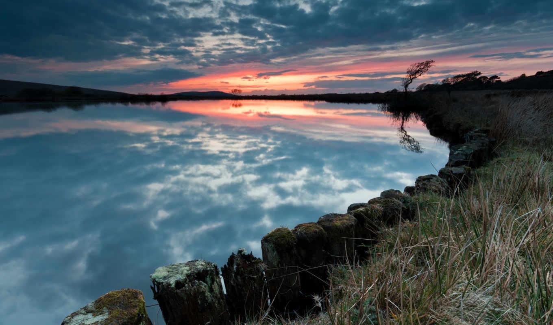 закат, небо, дерево, кб, побережье,