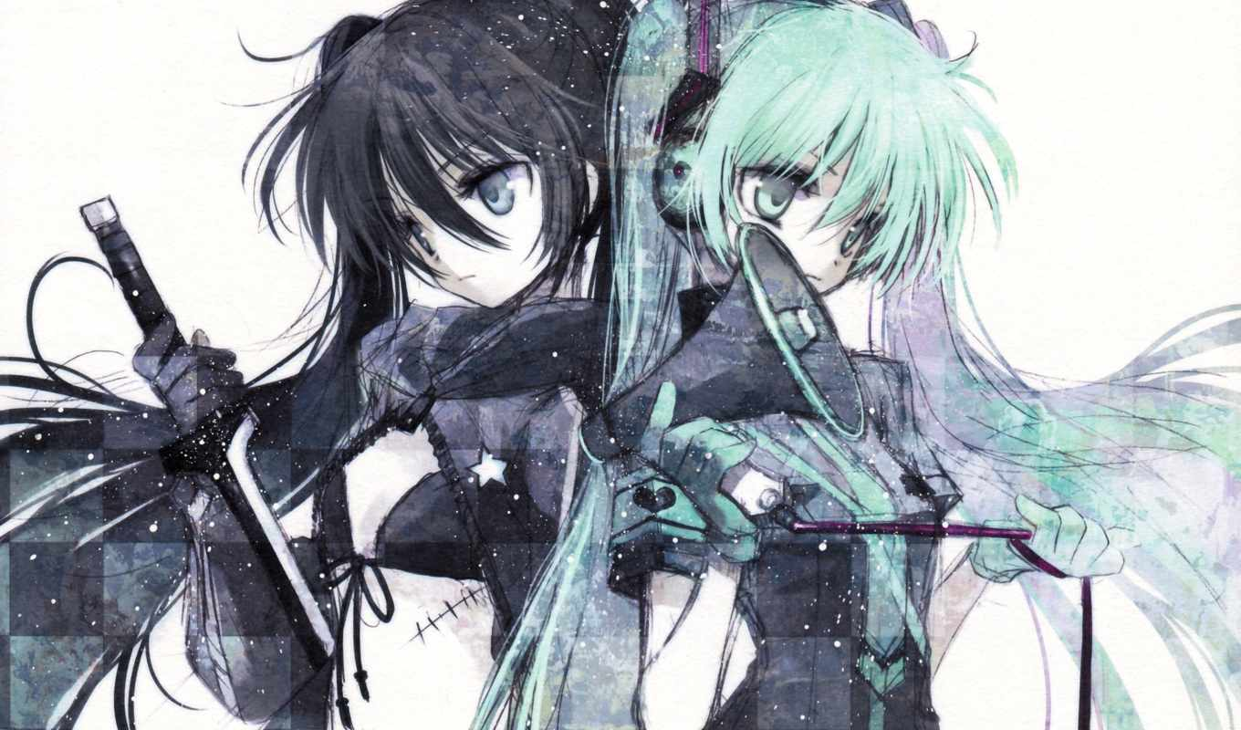 black, rock, shooter, hatsune, miku, vocaloid, anime, мато,