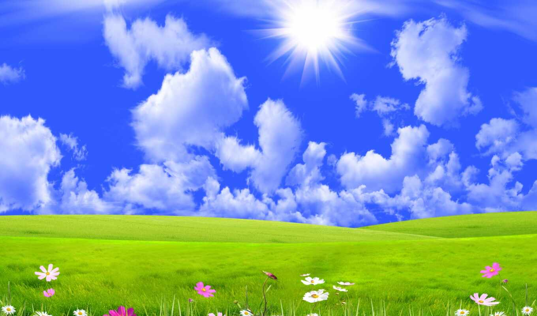 sun, луг, трава, небо, goodfon, lug, лучи, солнце, oblaka, изображение, небо,