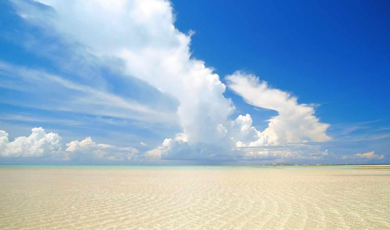 обои, море, песок, пейзажи, облака, волны, небо, в