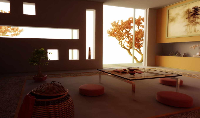 стиле, широкоформатные, комната, картинка, стиль, дерево, Сакура, интерьер, японский, скачивания, ключевыми, wuxga, полумрак, восточный, словами,
