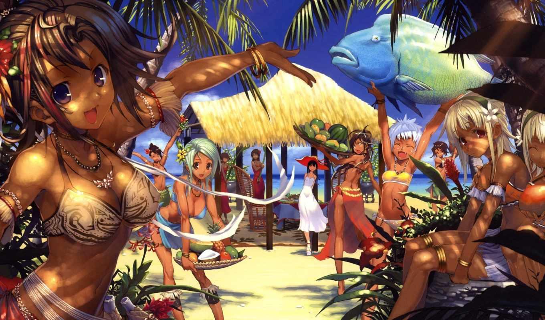 anime, пляж, devushki, тропики, art,