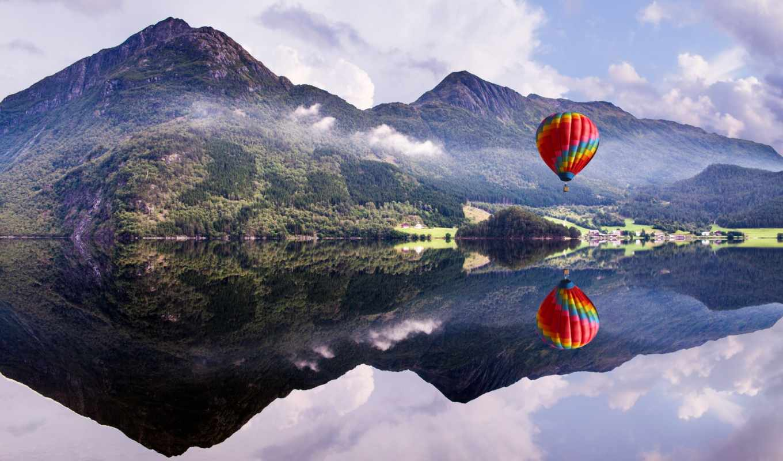 air, шар, горы, природа, Воздушный шар,