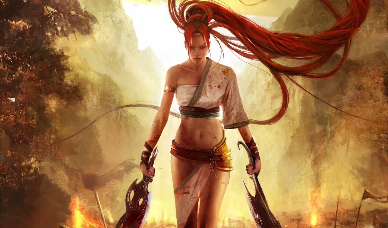 девушка, воин, heavenly, меч, fantasy, nariko, злая, огонь, devushki, горы,
