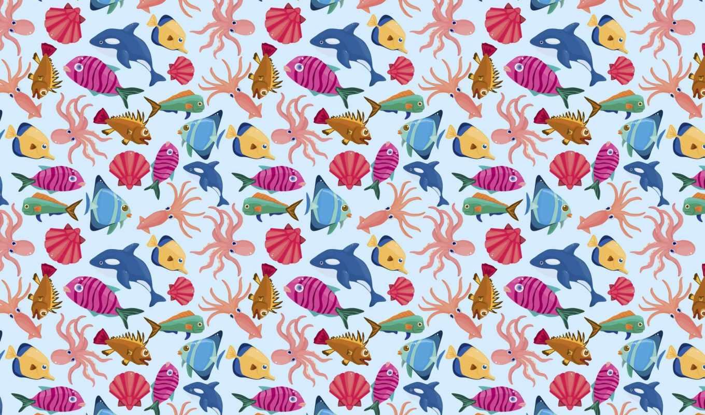 текстура, pisces, ракушки, касатка, осьминог, море, рыбки,