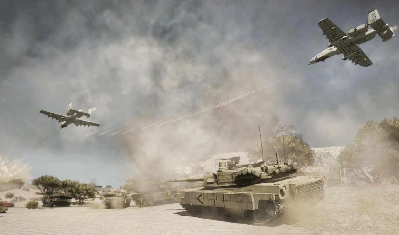 танк, bad, company, взрыв, самолёты, дым, пустыня, война, battlefield, картинка,