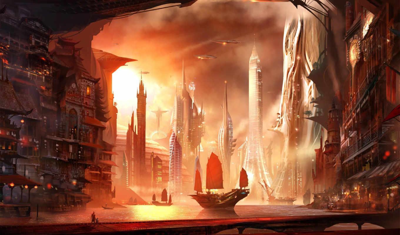 монитора, качестве, фантастические, traditional, future, фэнтези, город, изображение, картинок, фантастики,