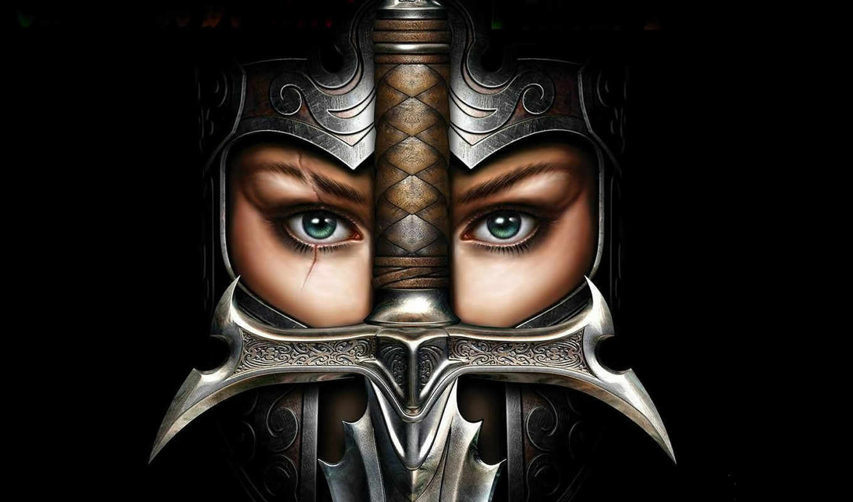 девушка, heretic, kingdoms, kult, со, card, меч, картинку, фэнтези, шрамом, шлем, культ, ереси, королевства,