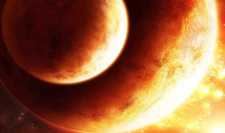 космос, планеты, огонь, planet, картинку, orbit, planets, two, orange, картинка,