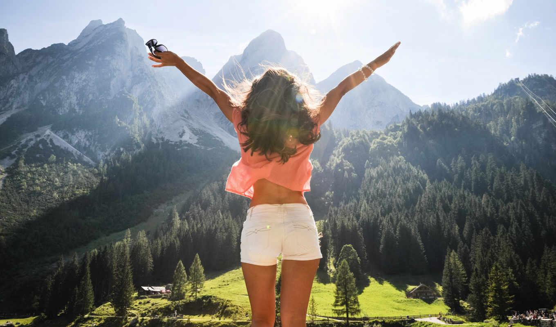 девушка, австрия, радость, свобода, лес, горы, деревья, панорама,