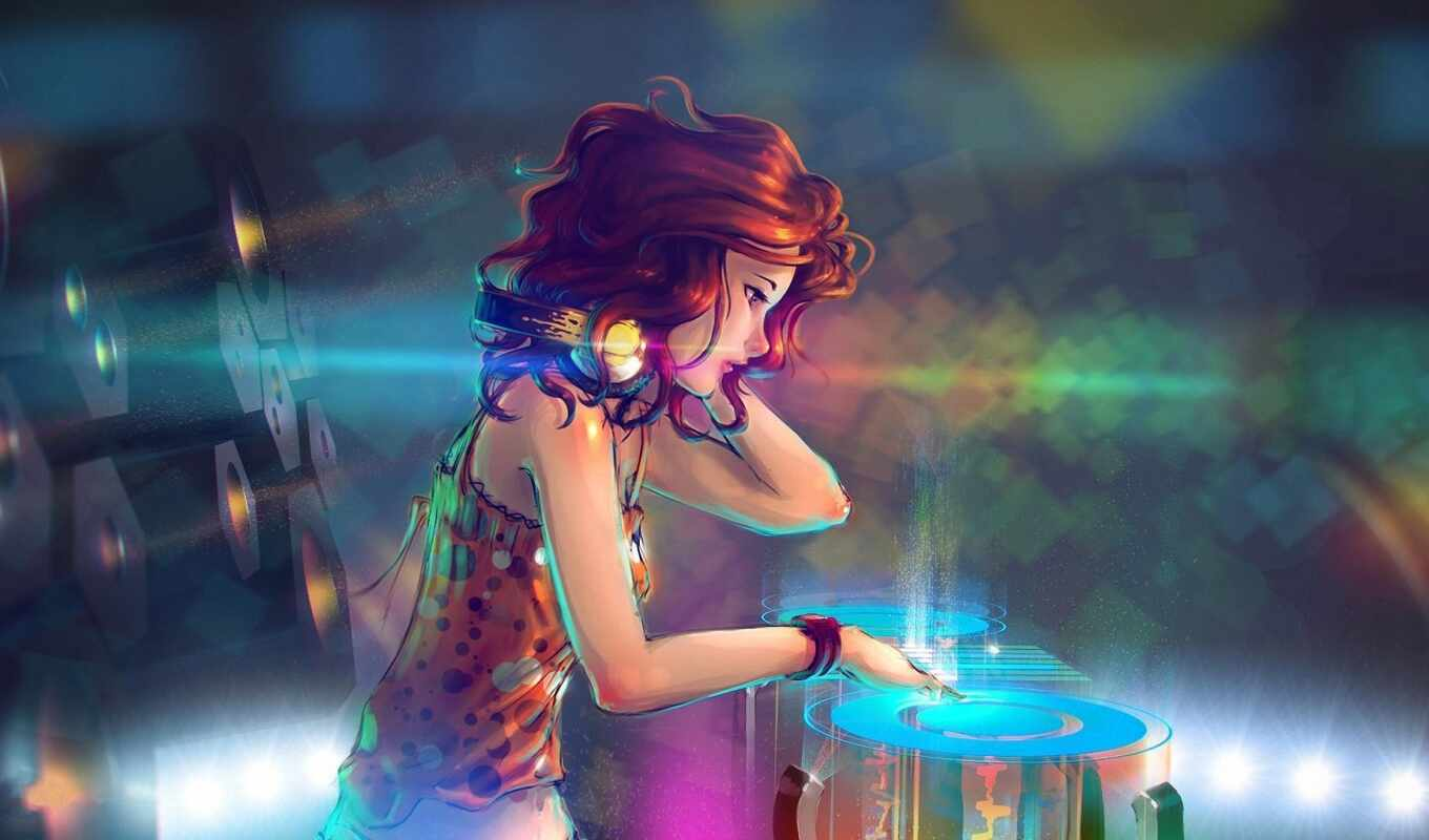 девушка, drawing, headphones, грустный, girls, abstract, anime, available,