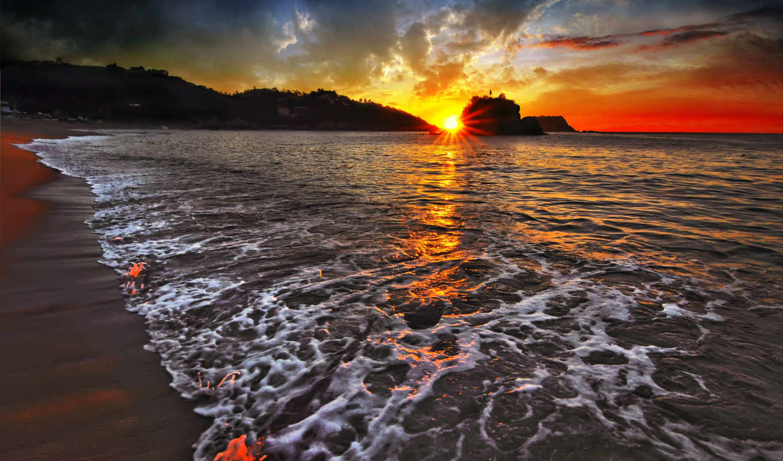 закат, море, лагуне,