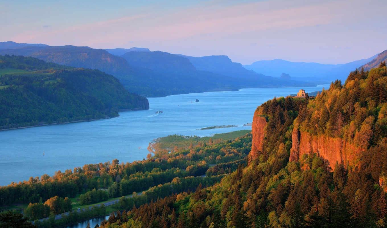 река, columbia, ущелье, oregon, colombia, highway, горы, природа,